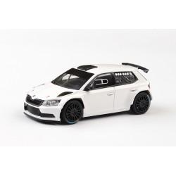2018 Škoda Fabia III R5, kola na asfalt − Prodejní tovární verze, bílá − ABREX 1:43